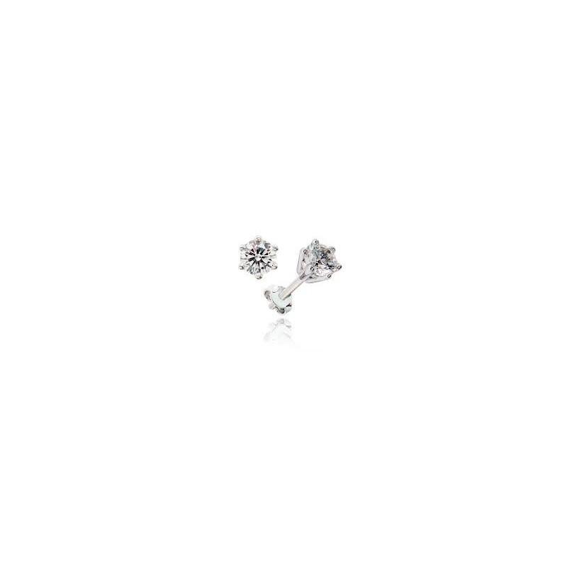 Pendientes de oro blanco con diamantes talla brillante